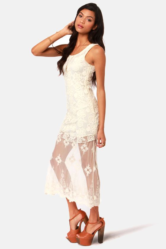 Tier For Two Cream Lace Maxi Dress  $59