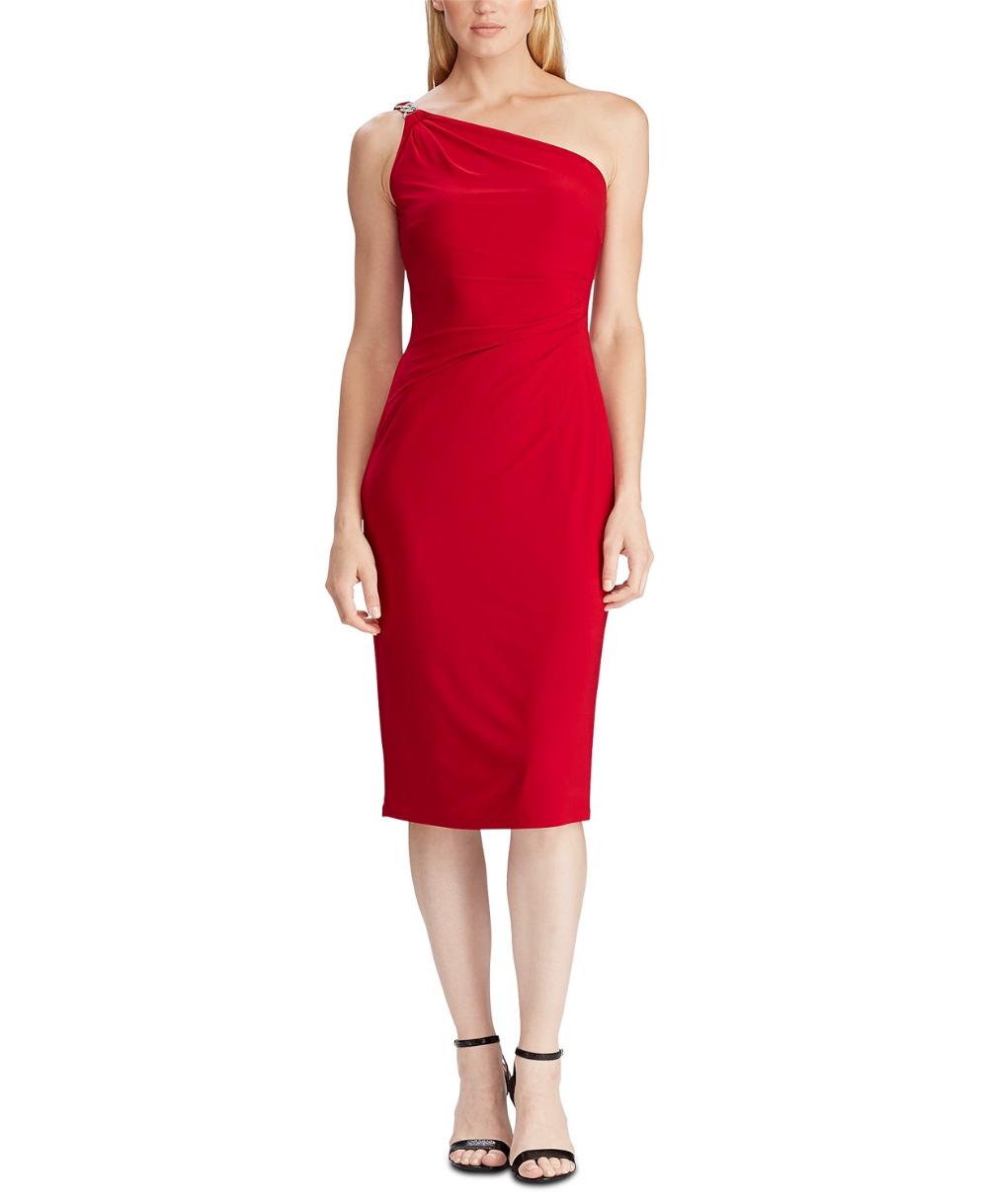 Lauren Ralph Lauren One Shoulder Cocktail Dress Created For Macy S Reviews Dresses Women Red Cocktail Dress One Shoulder Cocktail Dress Cocktail Dress [ 1219 x 1000 Pixel ]