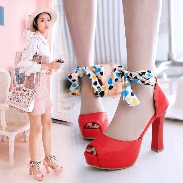 ca39582e57d Hot Women High Heel Ladies Peep Toe Platform Sweet Plus Size Shoes Fashion