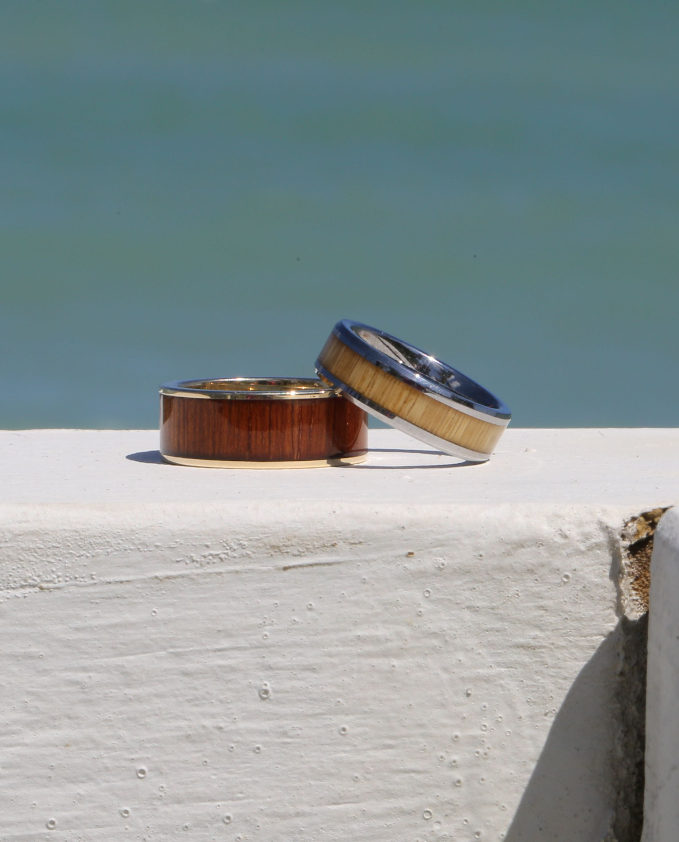 wood teak product rings inlay with ring t contemporary titanium rounded and jewellery comfort