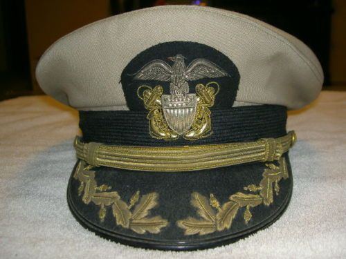 55de8b91d54 WWII U s Navy Officers Tan Bancroft Zephyr Gold and Silver Bullion Hat Us  Navy Hats