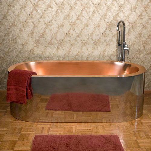 69 Loren Polished Stainless Steel Freestanding Tub with Polished