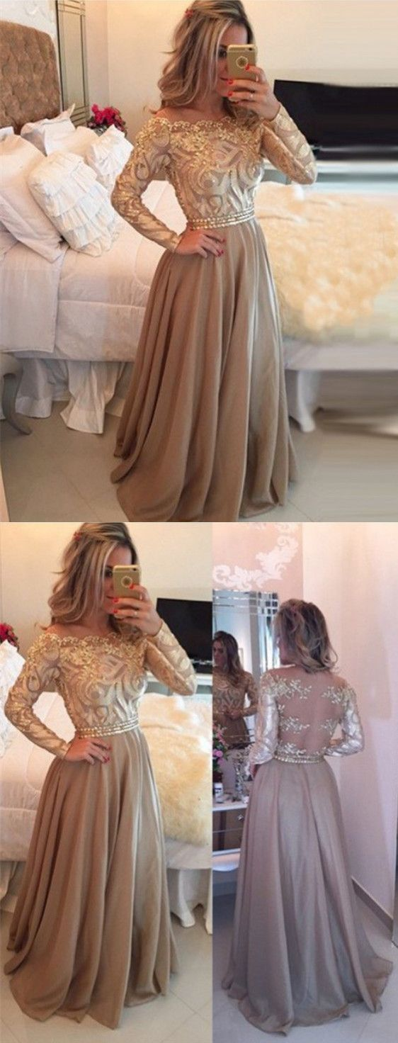 Elegant champagne scalloped long sleeves beading with lace long prom
