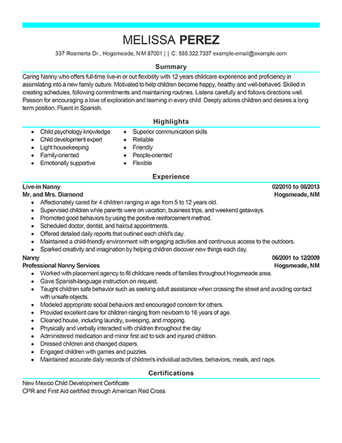 Resume Examples Personal Amp Services Sample Resumes Livecareer
