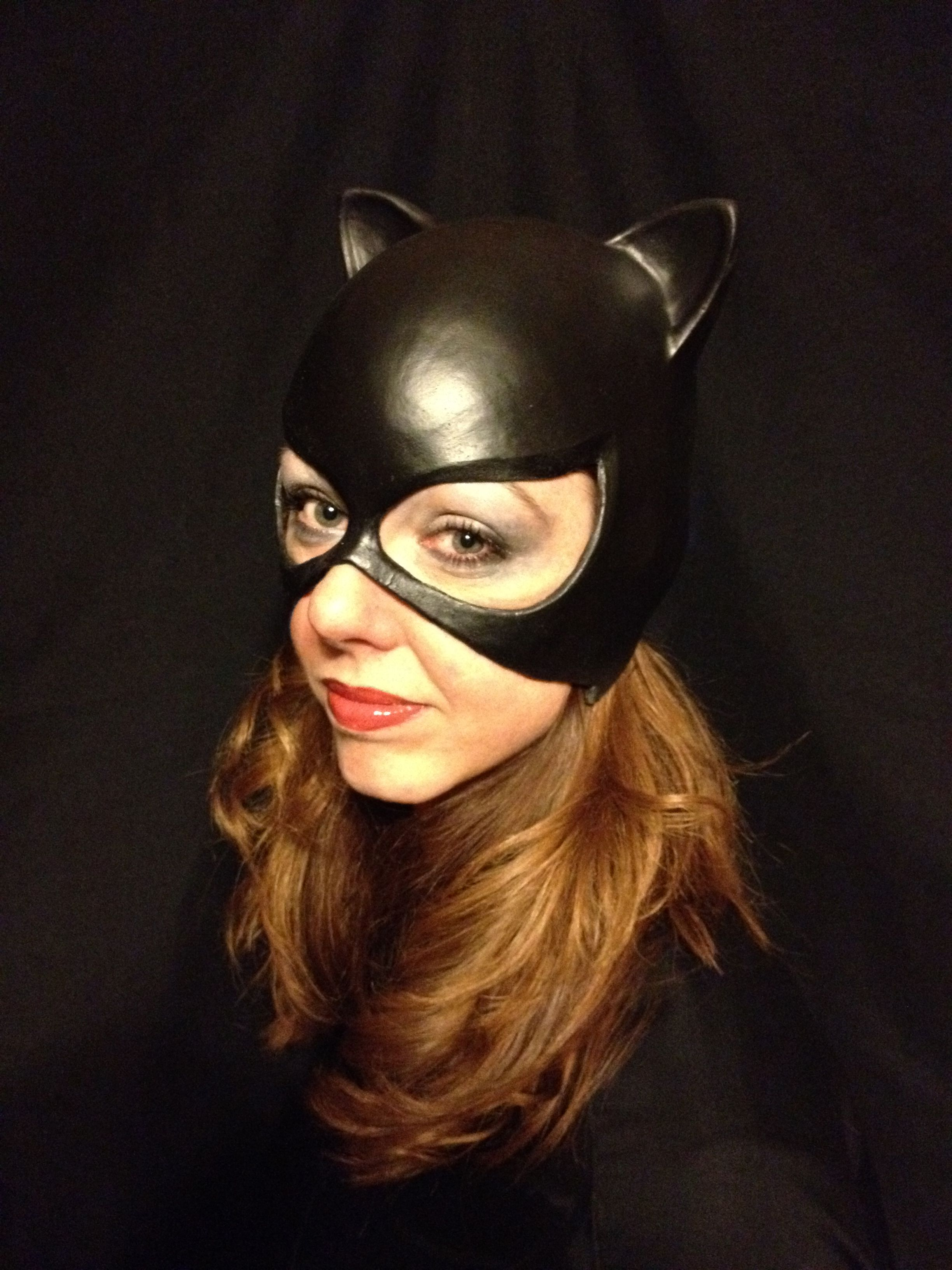 meow this classic catwoman cowl is made of latex and comes in black purple