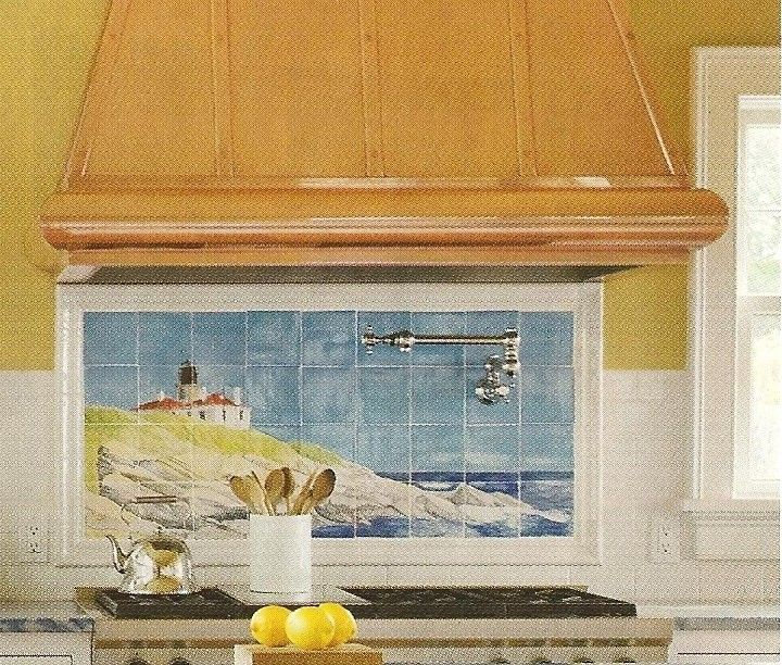 Ocean backsplash could be ANY picture painted on 15 tiles.