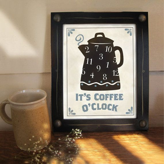 Kitchen Art Print Coffee Pot Black and White Framed