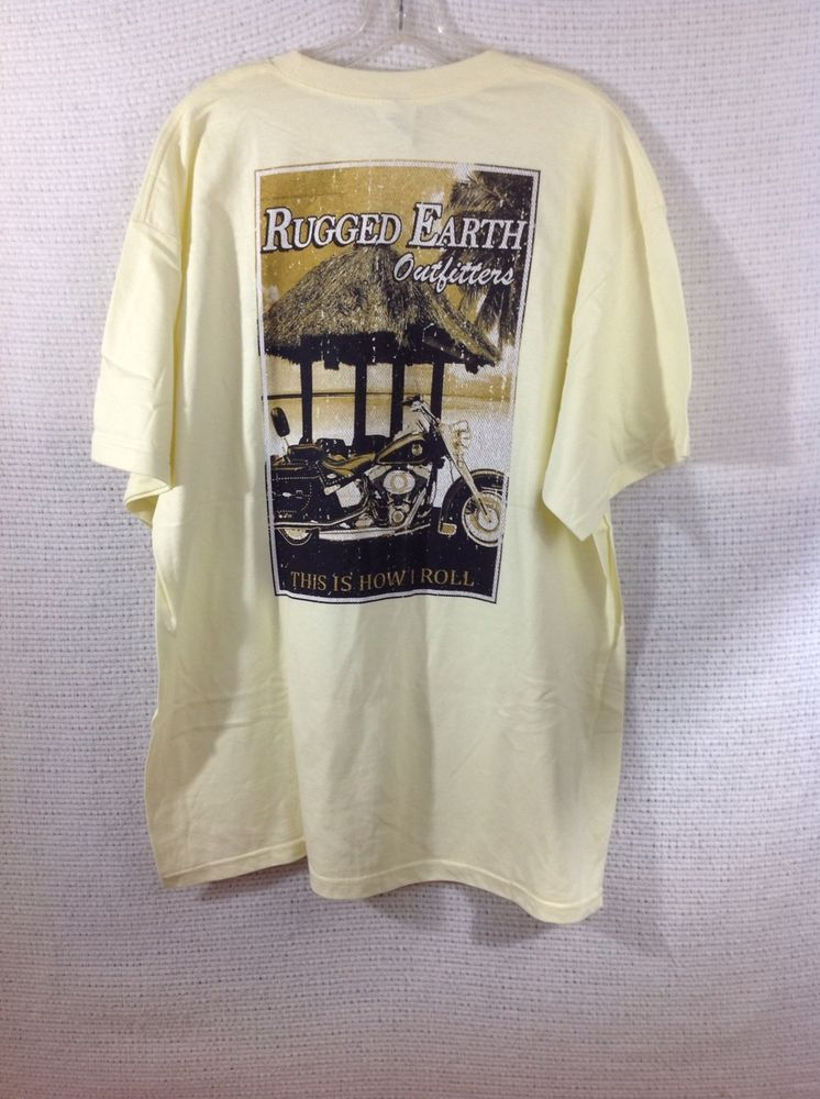 Rugged Earth Outers Men S T Shirt Yellow Motorcycle Hunting Fishing Tiki Xl Ruggedearthouters Graphictee