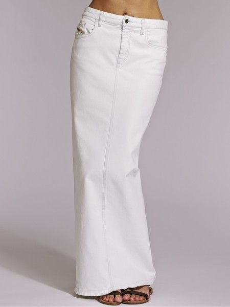 best selection of 2019 best prices search for latest Diesel White Denim Maxi Skirt | Clothes | Denim pencil skirt ...
