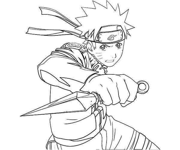 Uzumaki naruto with kunai knife coloring page art for Anime coloring pages naruto
