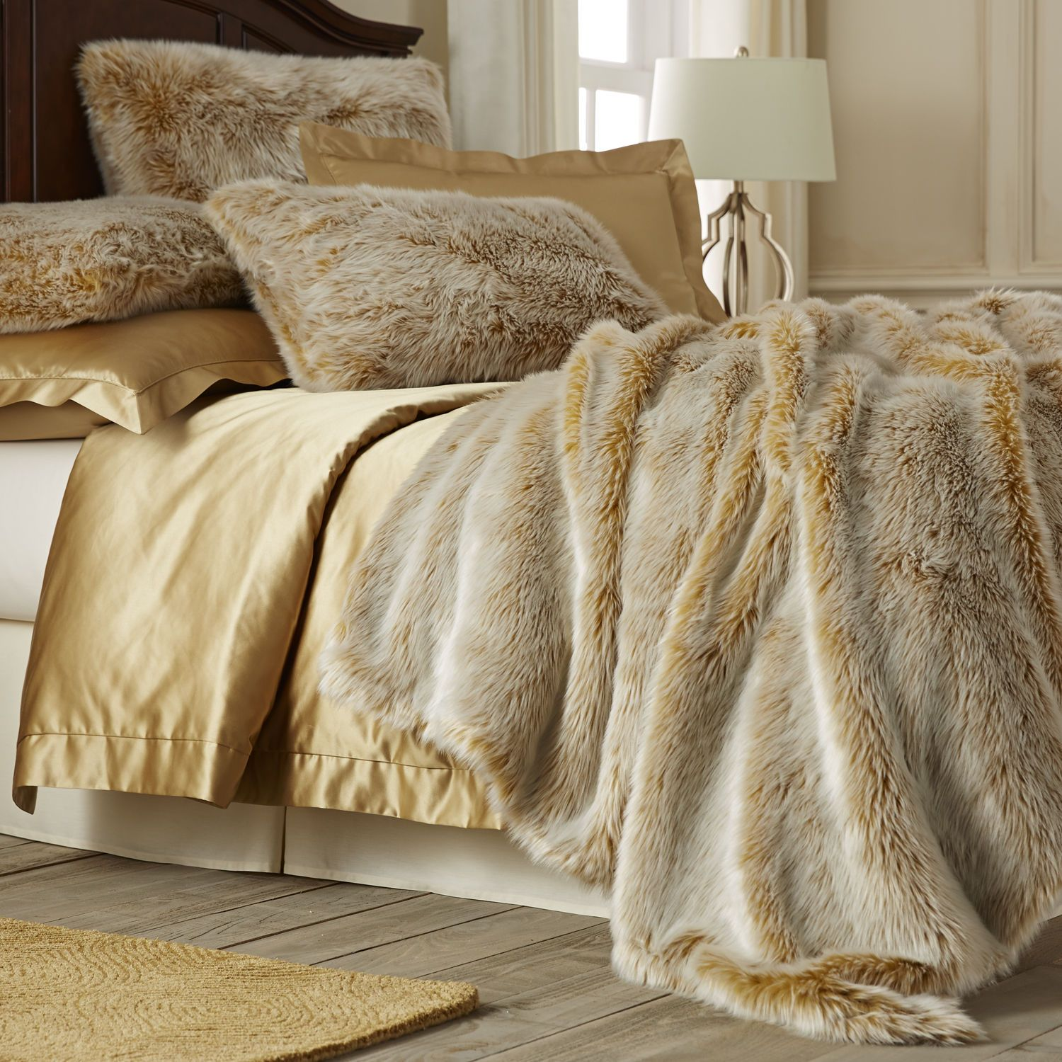 Pier 1: Gold Ombre Faux Fur Blanket Shams. I Need This For