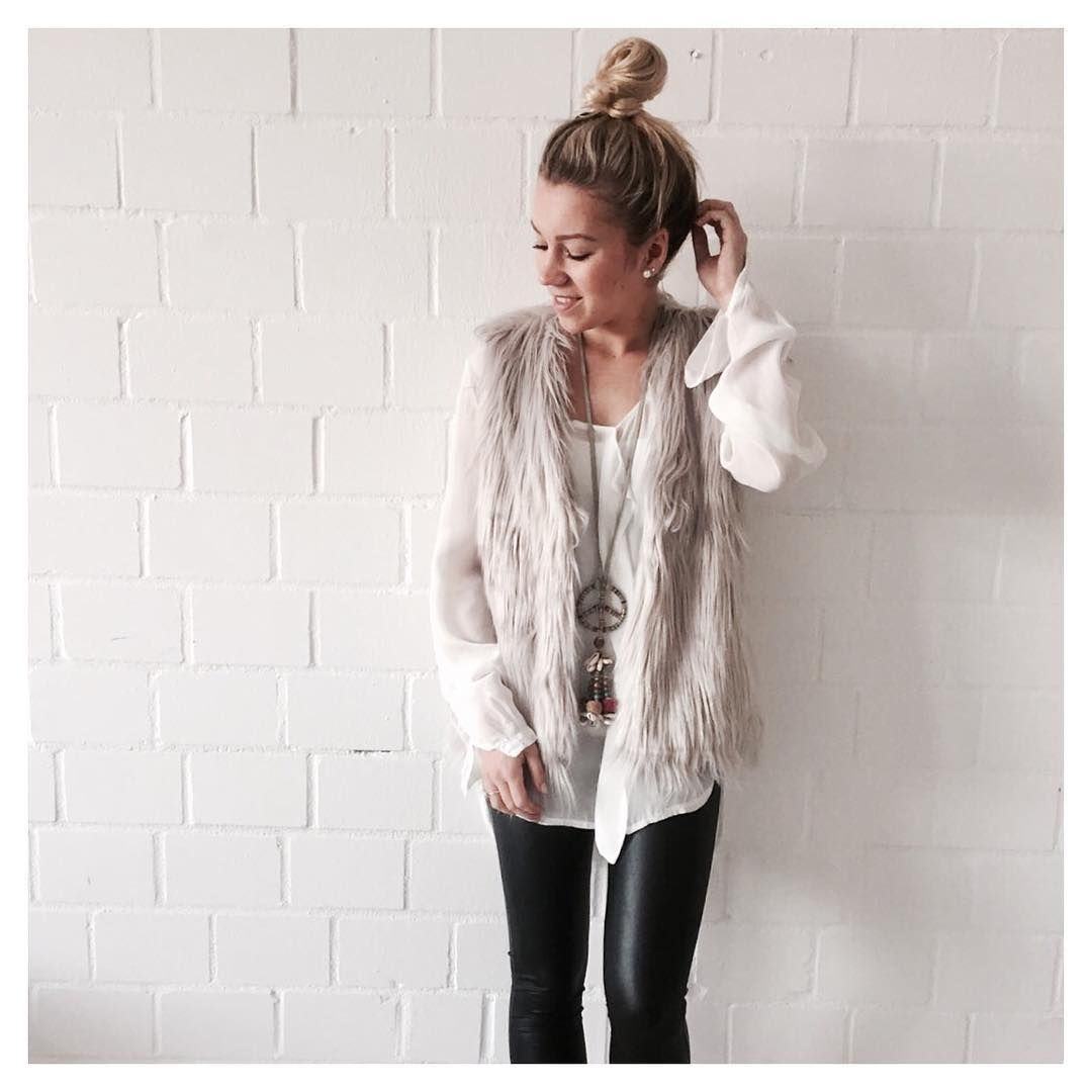 separation shoes a1734 47aad Heart-for-Fashion Instagram Fellweste mit Lederleggins und ...
