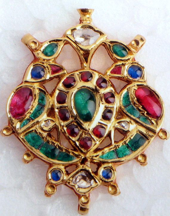 antique Kundan gold polki rubies emeralds Diamonds set pendant necklace jewelry -329-52 via Etsy