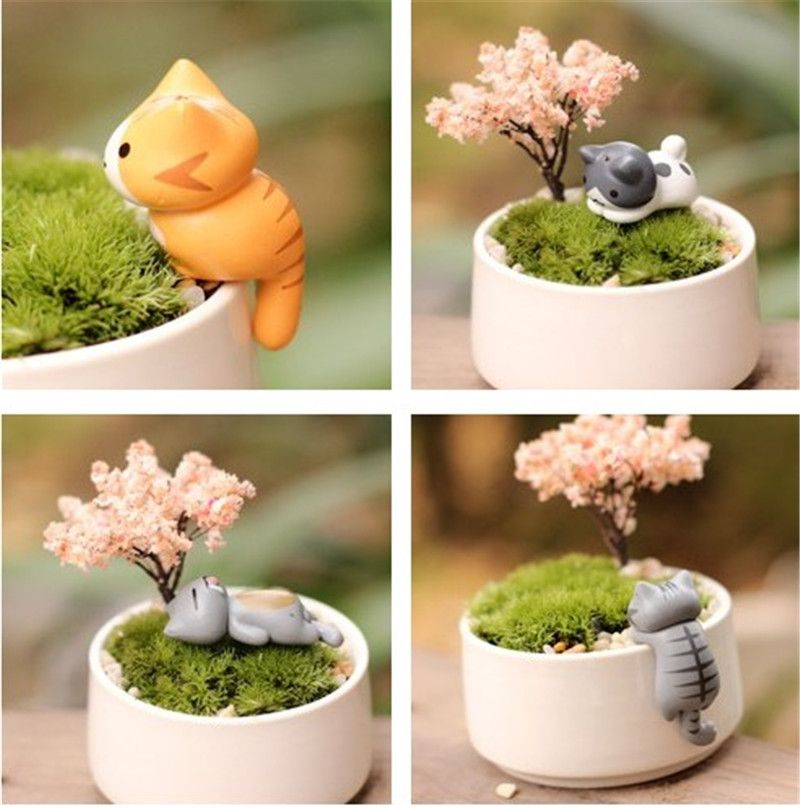 Micro Potted Plants Decorations Animals Cats Ornaments Creative