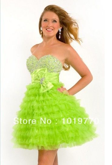 Neon Green Short Prom Dresses | 2014 Cute Short Green/Red Prom Dress ...