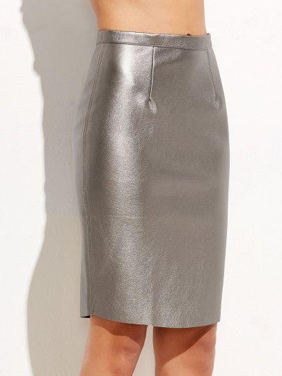 cc8148913 Falda de tubo metalizada con cremallera - plateado | cortes de ...