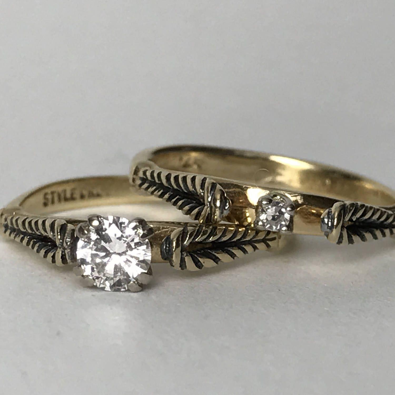 Vintage Diamond Engagement Ring Vintage Wedding Band StyleCrest