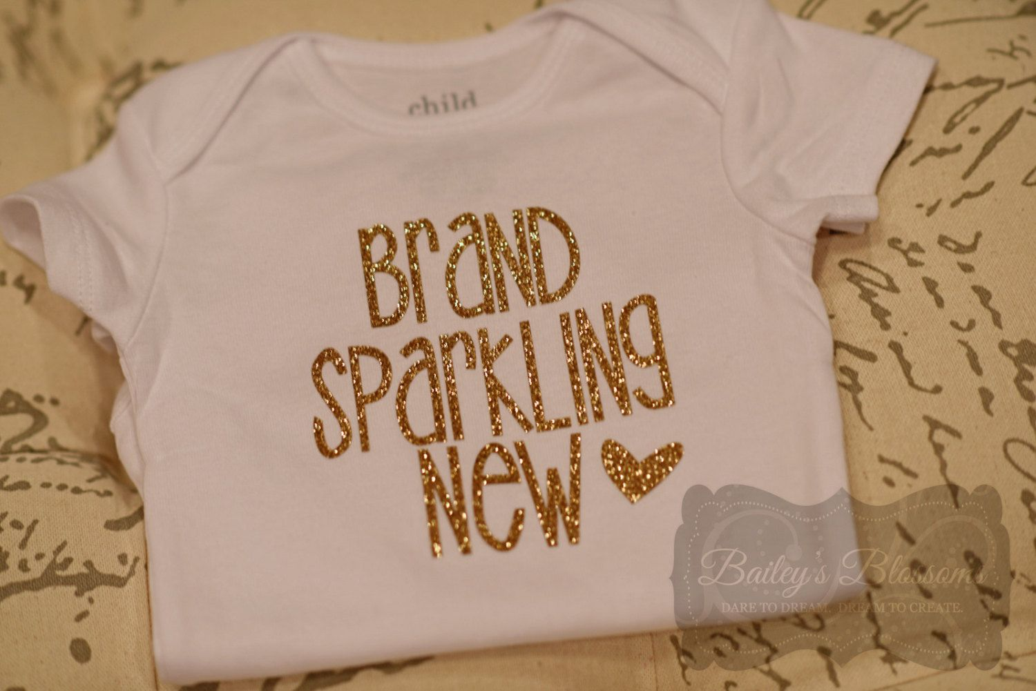 730fae56 DIY Brand Sparkling New Onesie Gold OR Silver Glitter Iron On Transfer  Decal, Iron on