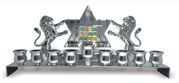 Hoshen With Lions Hanukkah Menorah - Nickel