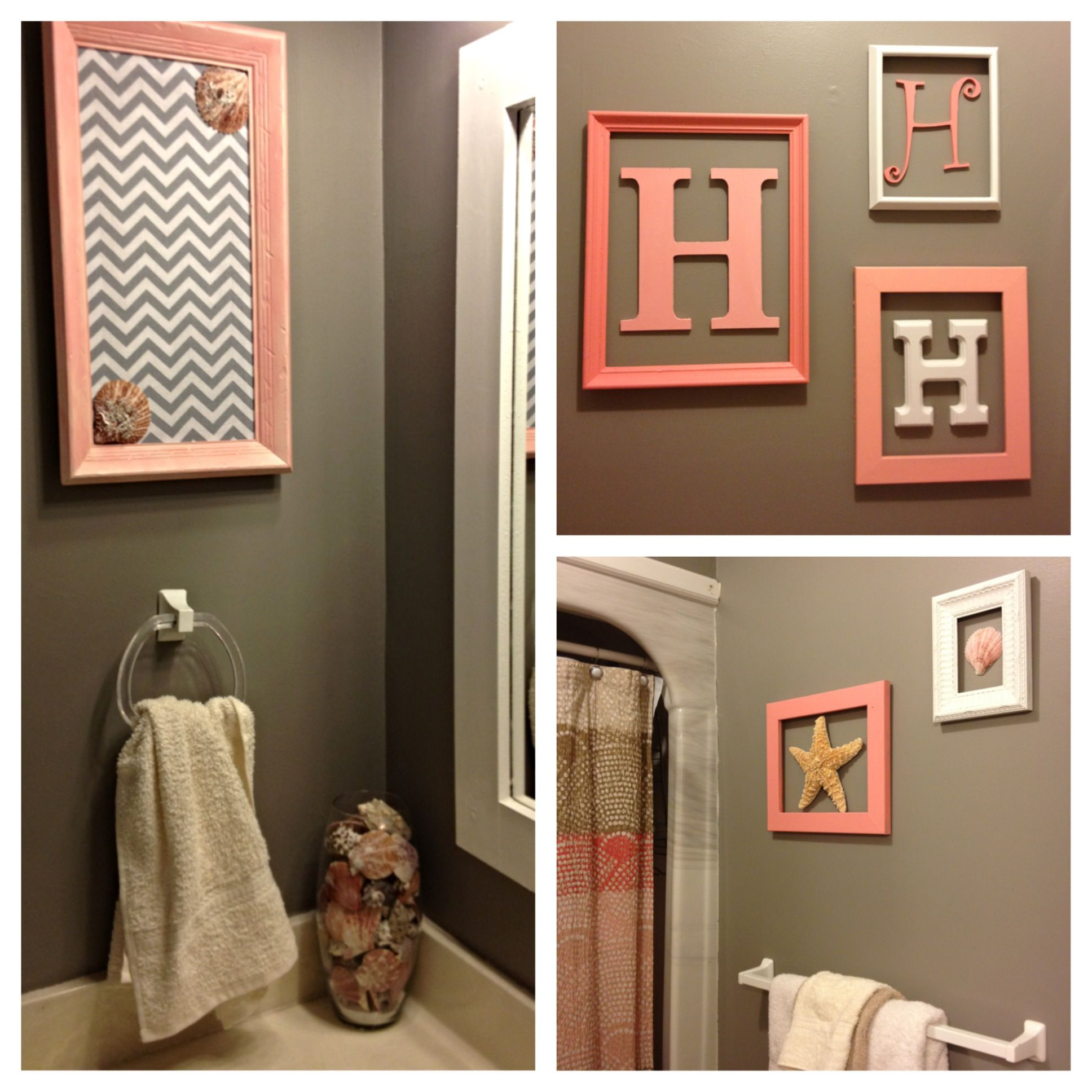 Our new beachy bathroom monogram wall pink tan grey for Bathroom ideas tan