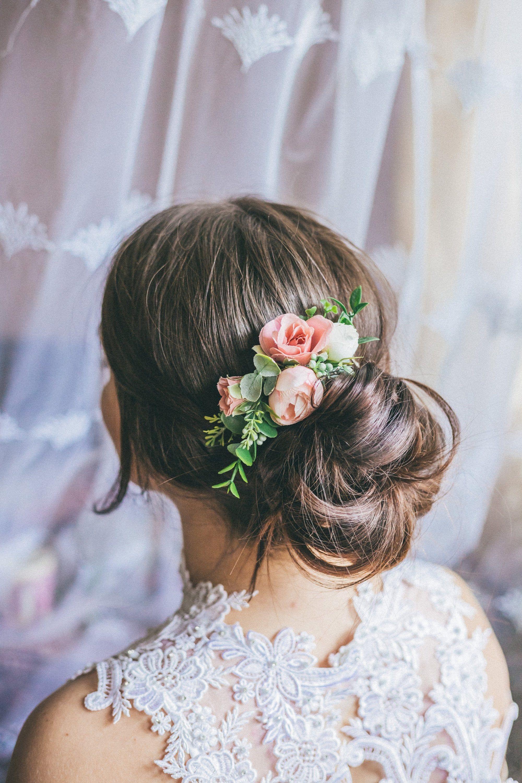 Wedding hair accessories Flower hair comb Greenery hair comb Blush pink flower hairpiece Pink hair comb Bridal hair piece Greenery hairpiece #brautblume