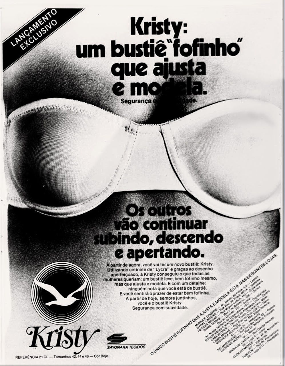 Anúncio Bustiê Kristy - 1978