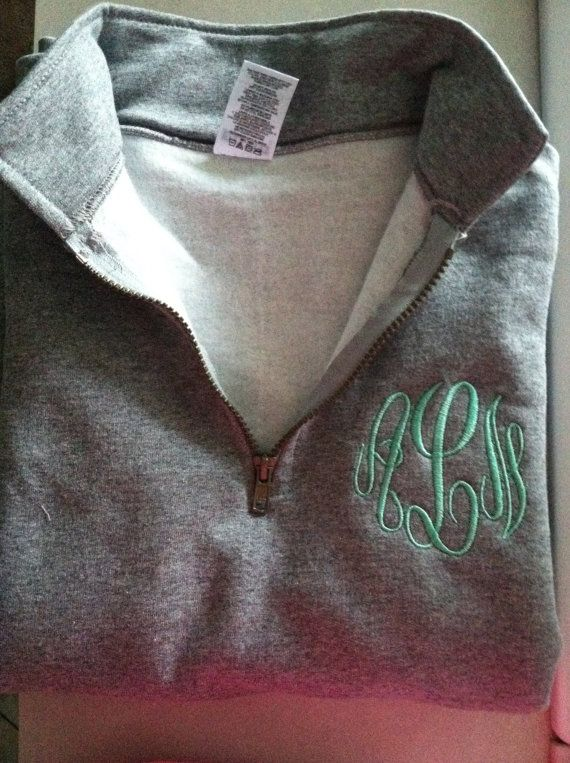 monogrammed sweatshirt material 1  4 zip pullover