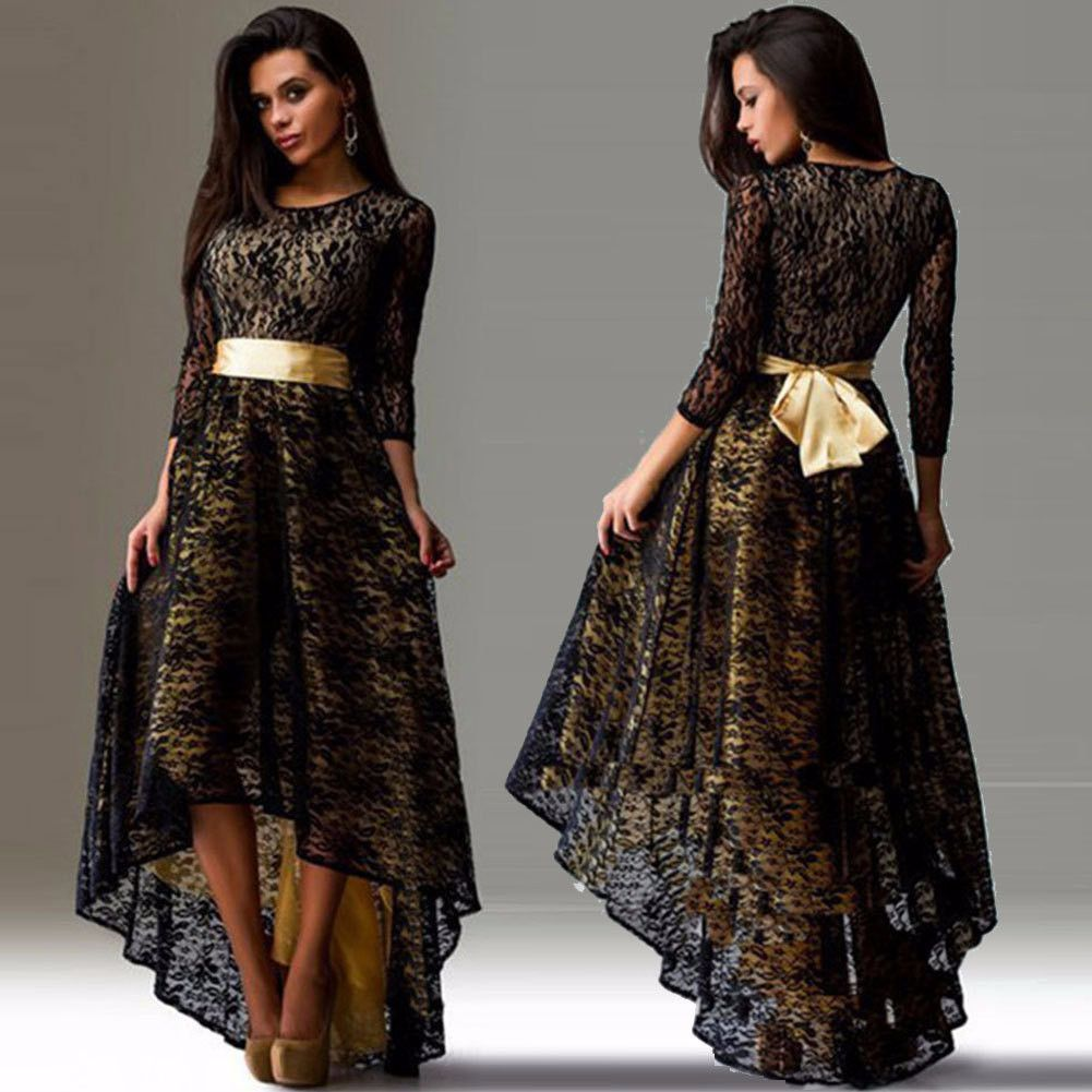 Elegant Lace Long Sleeve Plus Size Waterfall Dress | Party ...