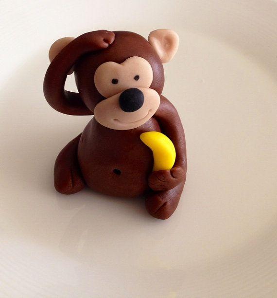 Monkey fondant cake topper (With images) | Fondant cake ...