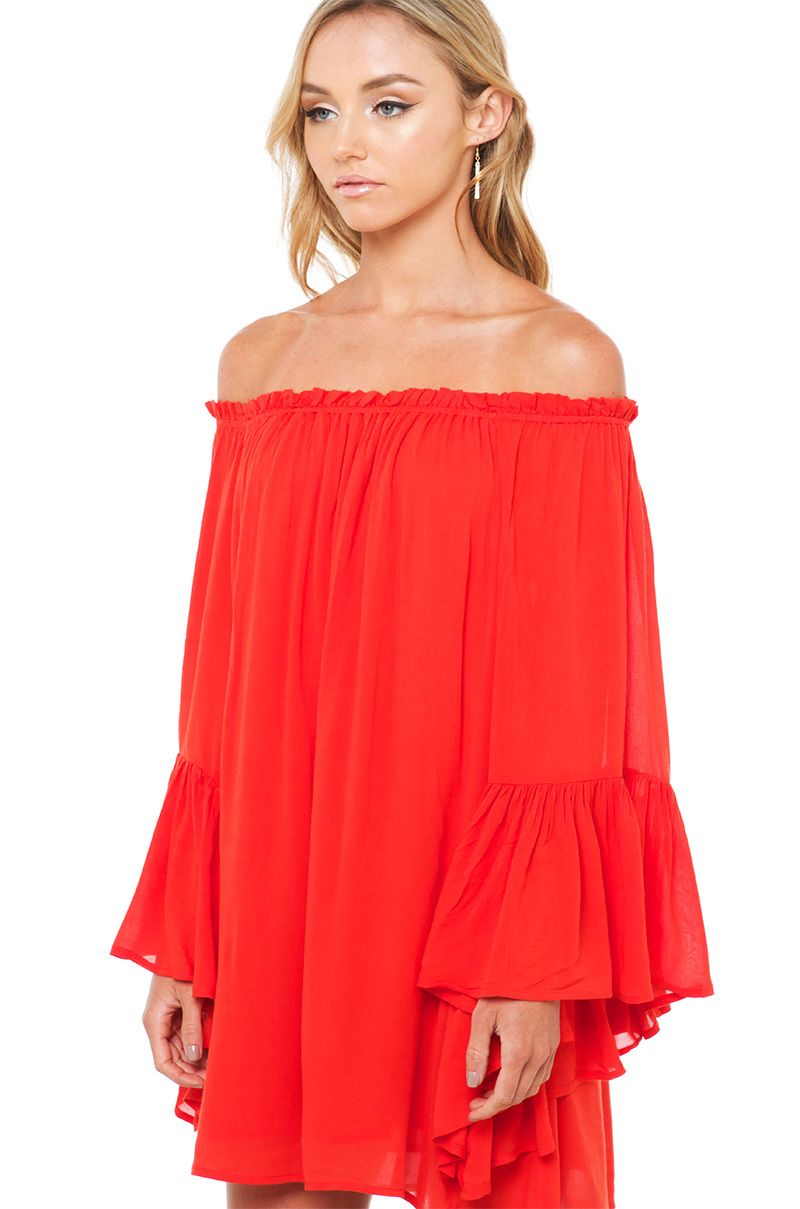 Akiraus keep afloat off shoulder red dress features an elasticized