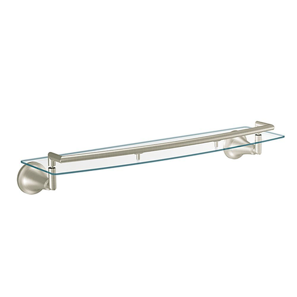 Icon Brushed Nickel Glass Shelf Glass Bathroom Shelves Glass