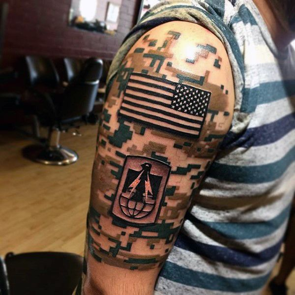 Digital camo mens us flag army half sleeve tattoo tattoo for Camo sleeve tattoo