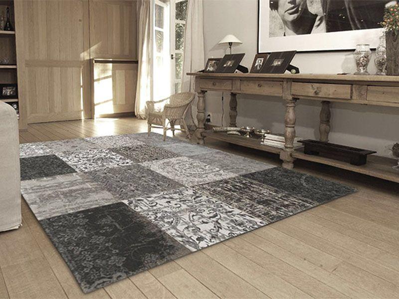 Karpet Vintage Patchwork.Vintage Karpet Patchwork 软装摆设 Black Grey Rugs