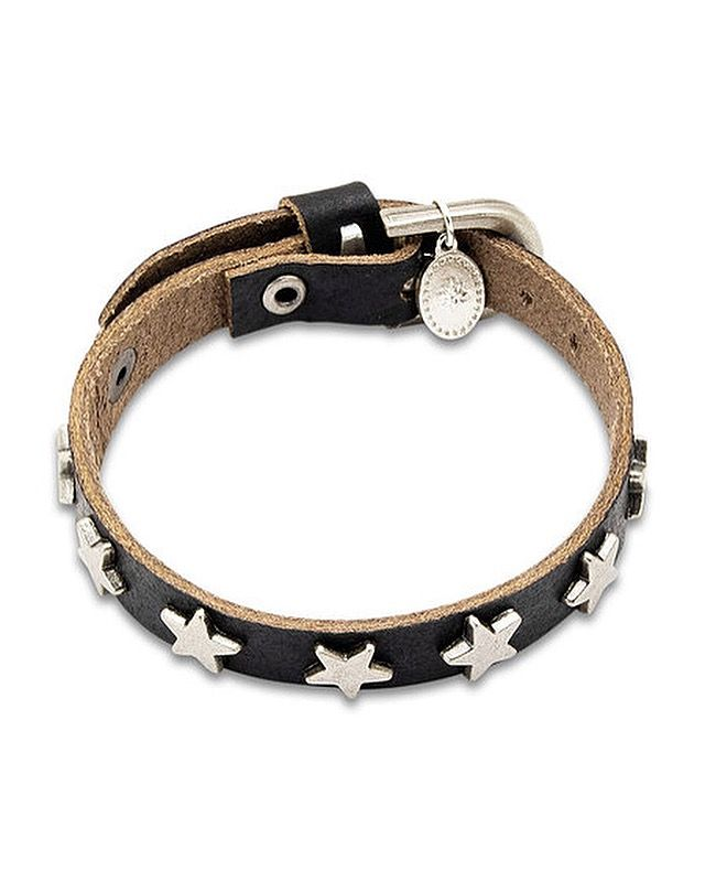 BLACK LEATHER BRACELET WITH BUCKLE LOCK AND SILVER PLATED STAR STUDS #leather #bracelets #jewelry #fashion #mensfashion #womansfashion