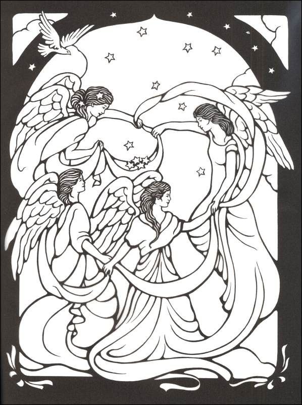 Beautiful angel coloring pages angels stained glass coloring book 000467 details rainbow resource