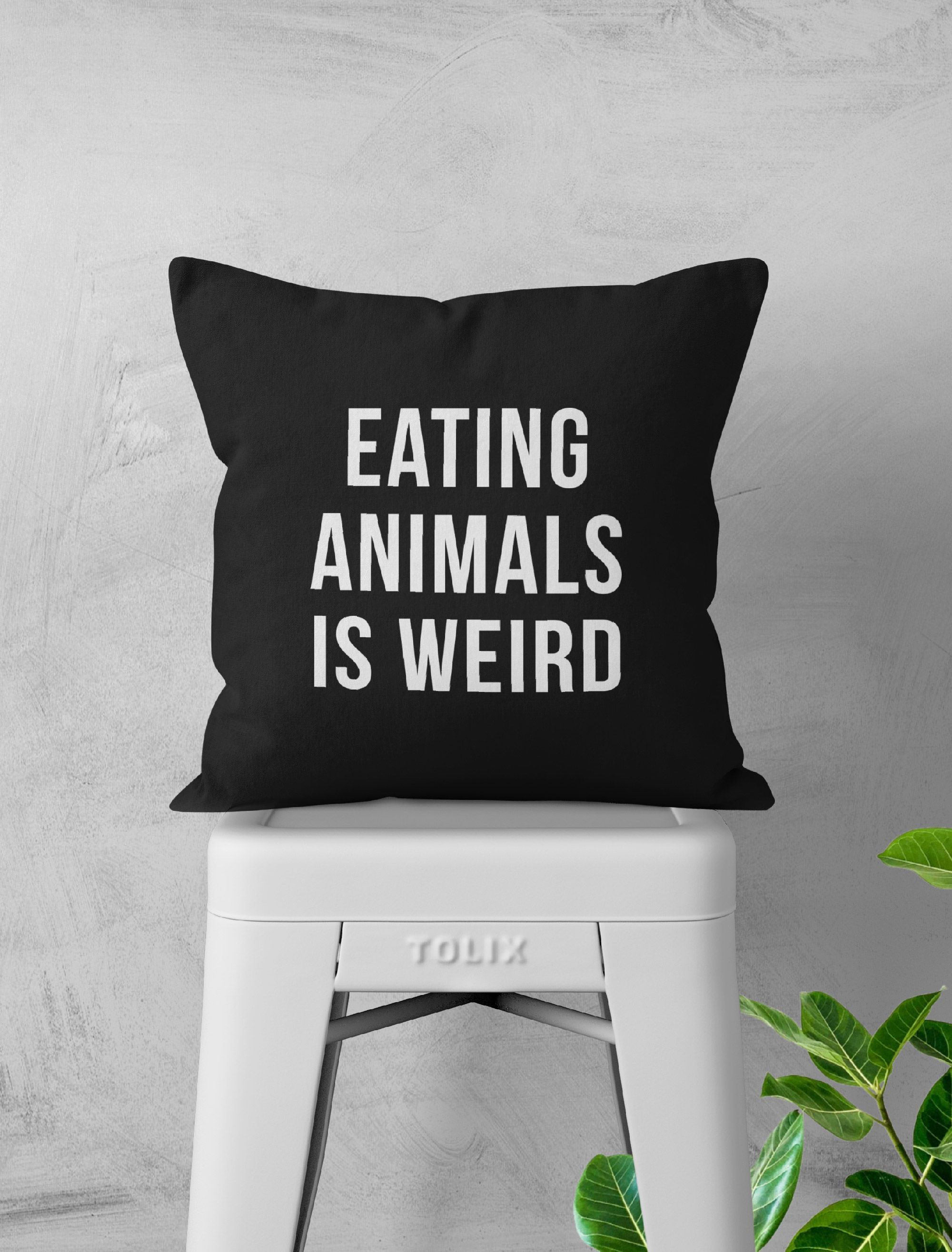 Eating Animals Is Weird Pillow Cover #vegetarianquotes Vegan/Vegetarian Quote Throw Pillow Case  #veganquote #veganpillow #vegetarianpillow #vegandecor #vegetarianquotes