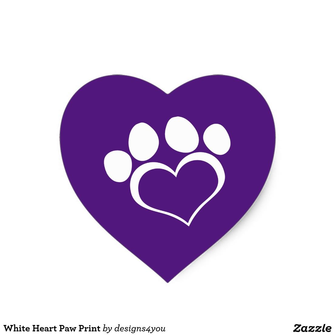 Royal Purple and White Heart Paw Print Heart Sticker
