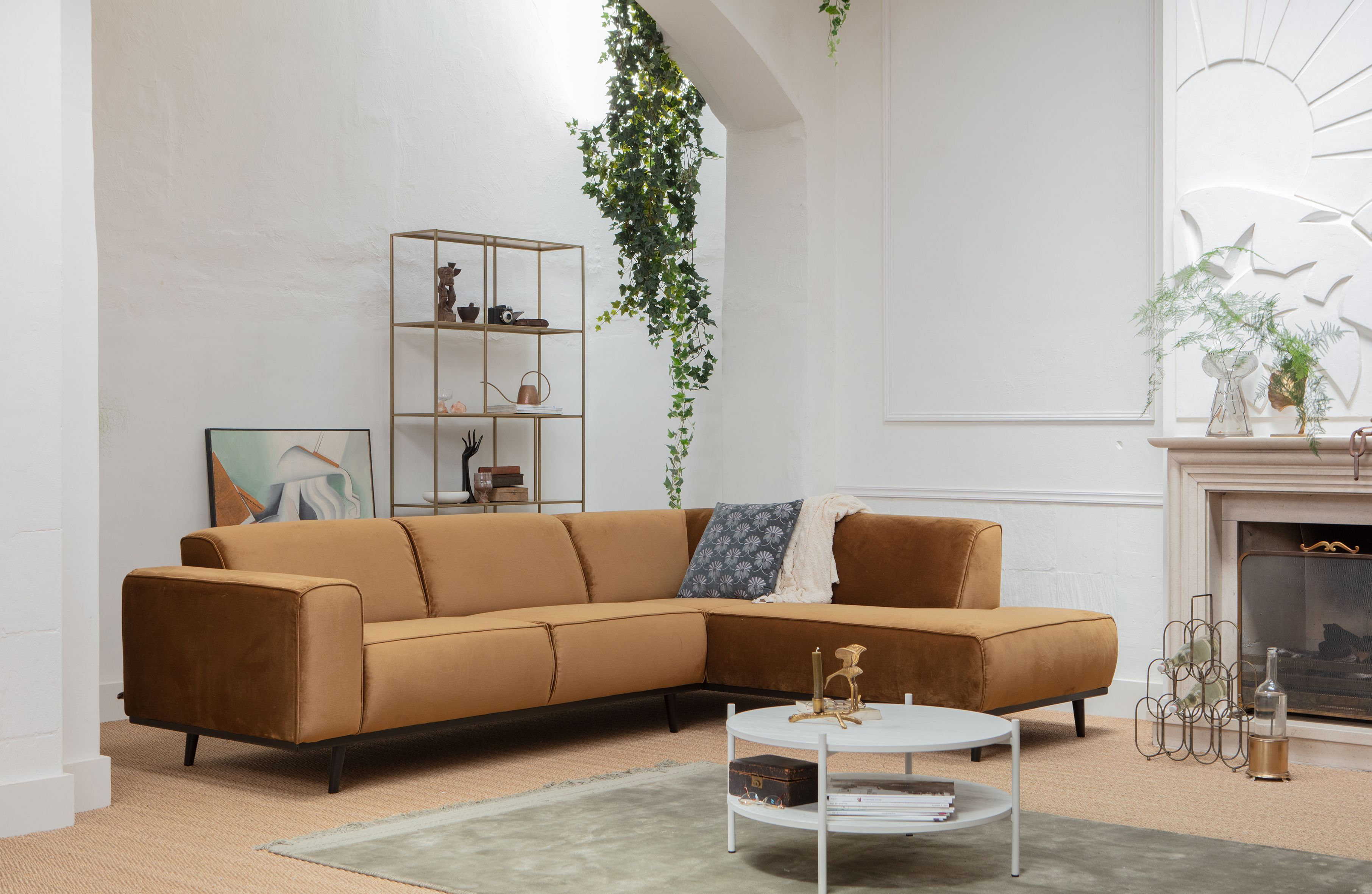 lifestyle4living B/üroregal in modernem Beton-Dekor platzsparendes Drehregal mit 3 F/ächern Made in Germany
