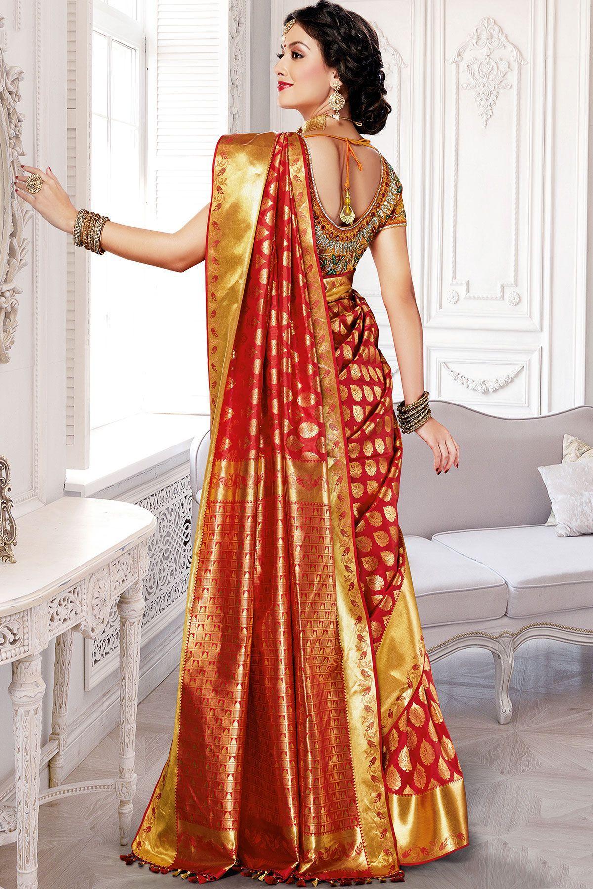 5624870ff0c Crimson Red Silk Zari Woven Saree-SR24317