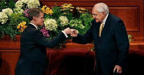 Fist bump. Just another reason these guys are cool. Mormon General Conference.