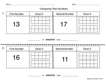 comparing teen numbers with ten frames