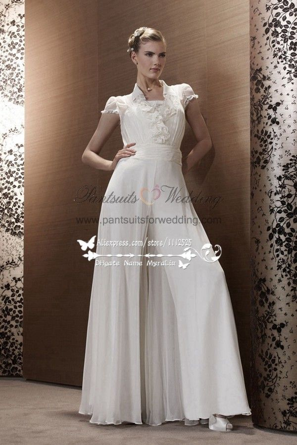 3876c679b237 White Chiffon wedding jumpsuit bridal Siamese trousers dresses BA ...