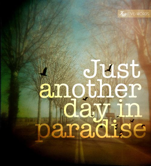 Oh think twice, it's just another day in paradise! Love