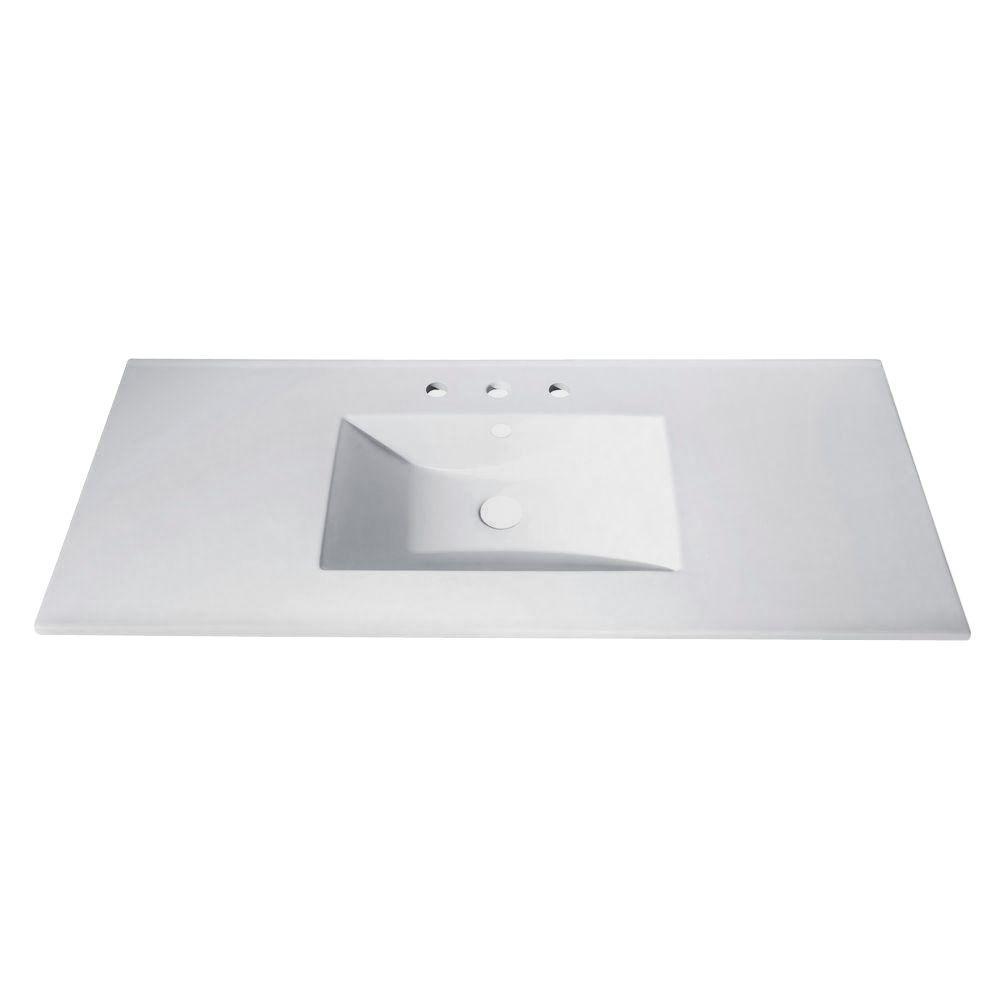 Avanity 49 In Vitreous China Vanity Top With Rectangular Bowl In White Cut49wt The Home Depot Bathroom Vanity Tops Single Sink Bathroom Vanity Vanity Top