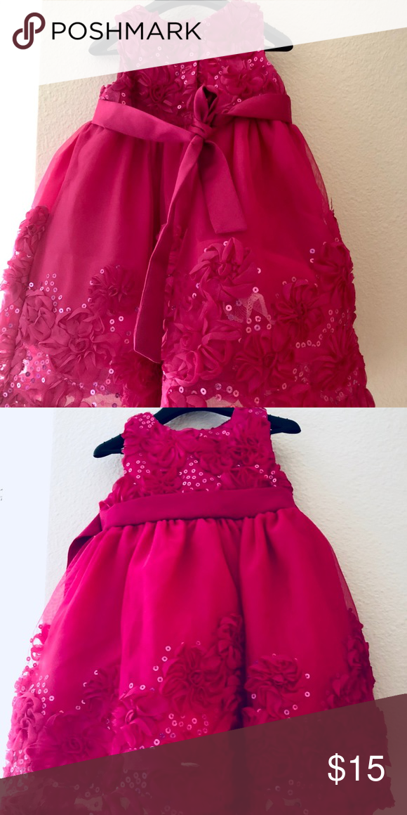 6a2df6ee Rare Edition 12Months girl dress Beautiful pink flower knee length dress.worn  once Rare Editions Dresses Formal