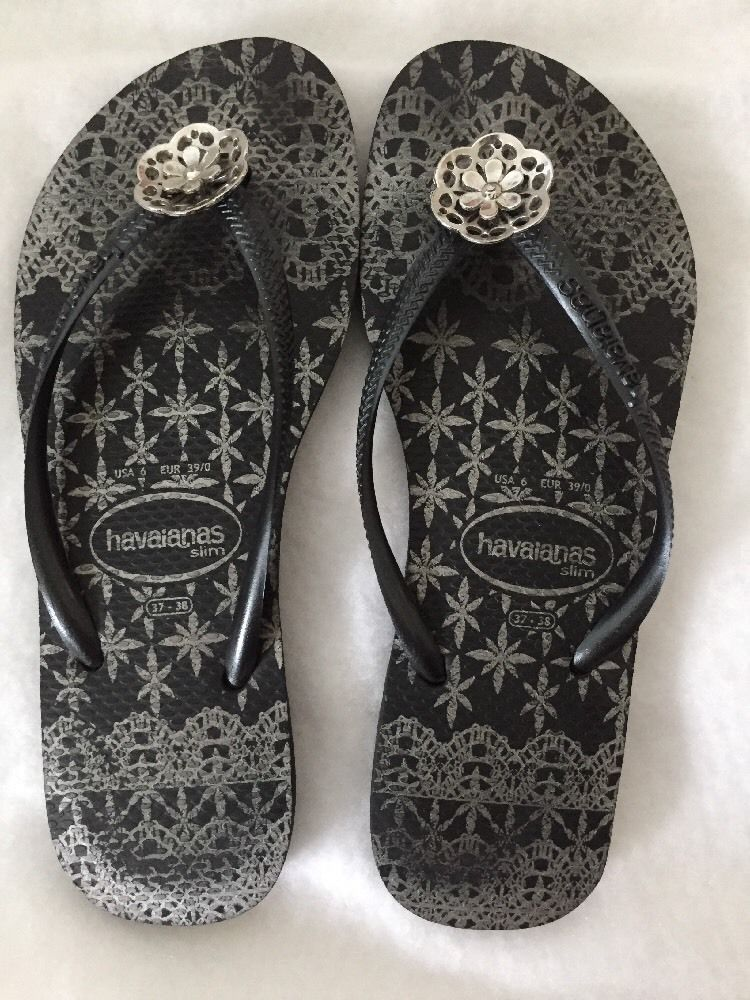9778be273bf746 Havaianas Slim Women s Black White Silver Flower Toe Ornament Flip Flop  Size 6  Havaianas  FlipFlops