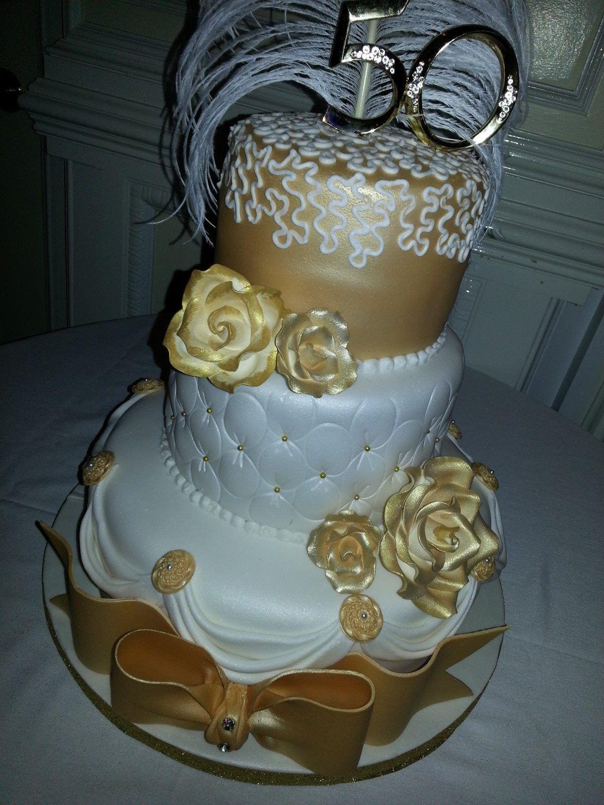 Gold 50th Birthday Cake
