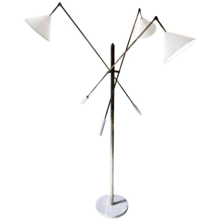 Patinated Brass Floor Lamp Adjustable Three Arm Triennale Style Brass Floor Lamp Floor Lamp Lamp