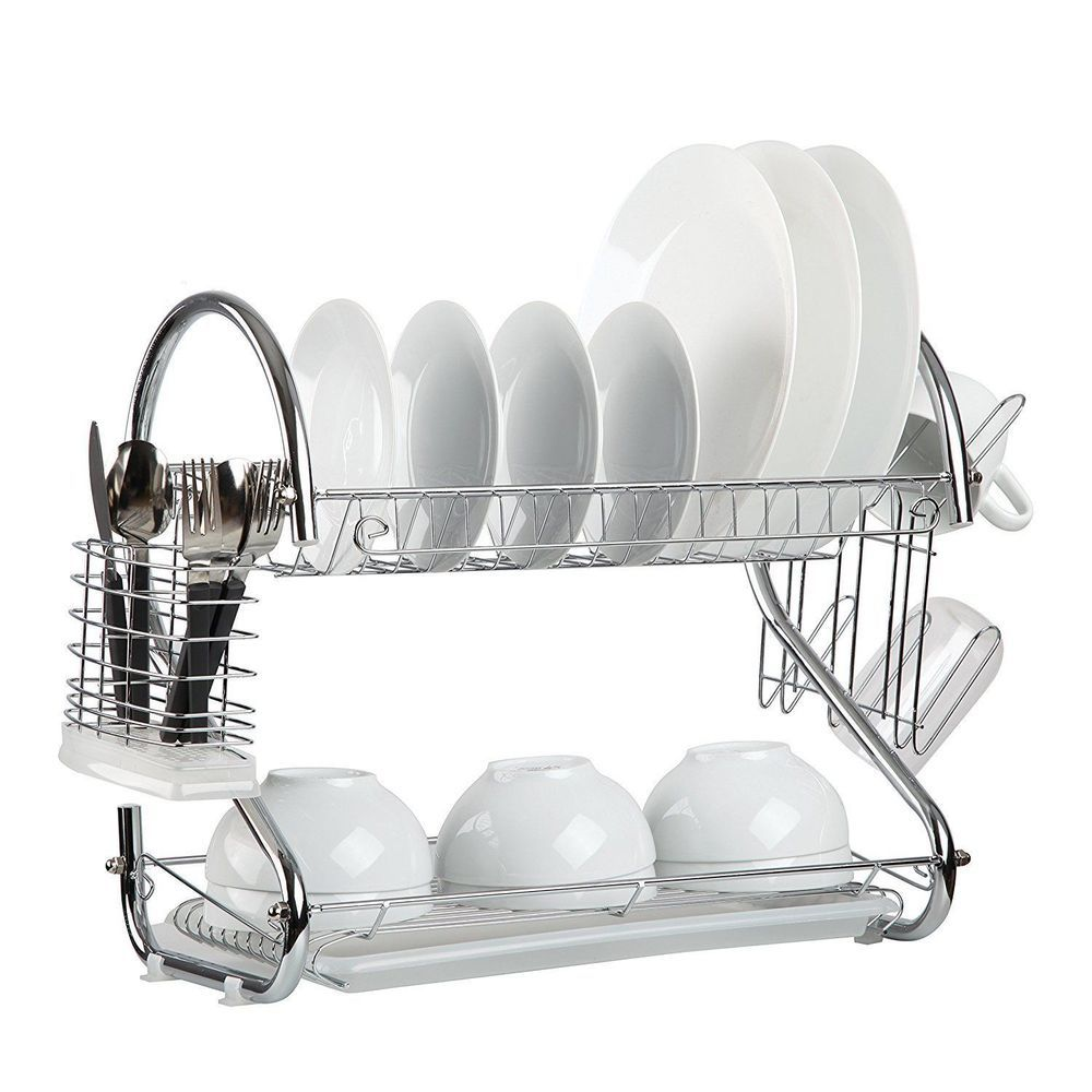Stainless Steel Dish Rack 2 Tier Drying Kitchen Organizer Plate