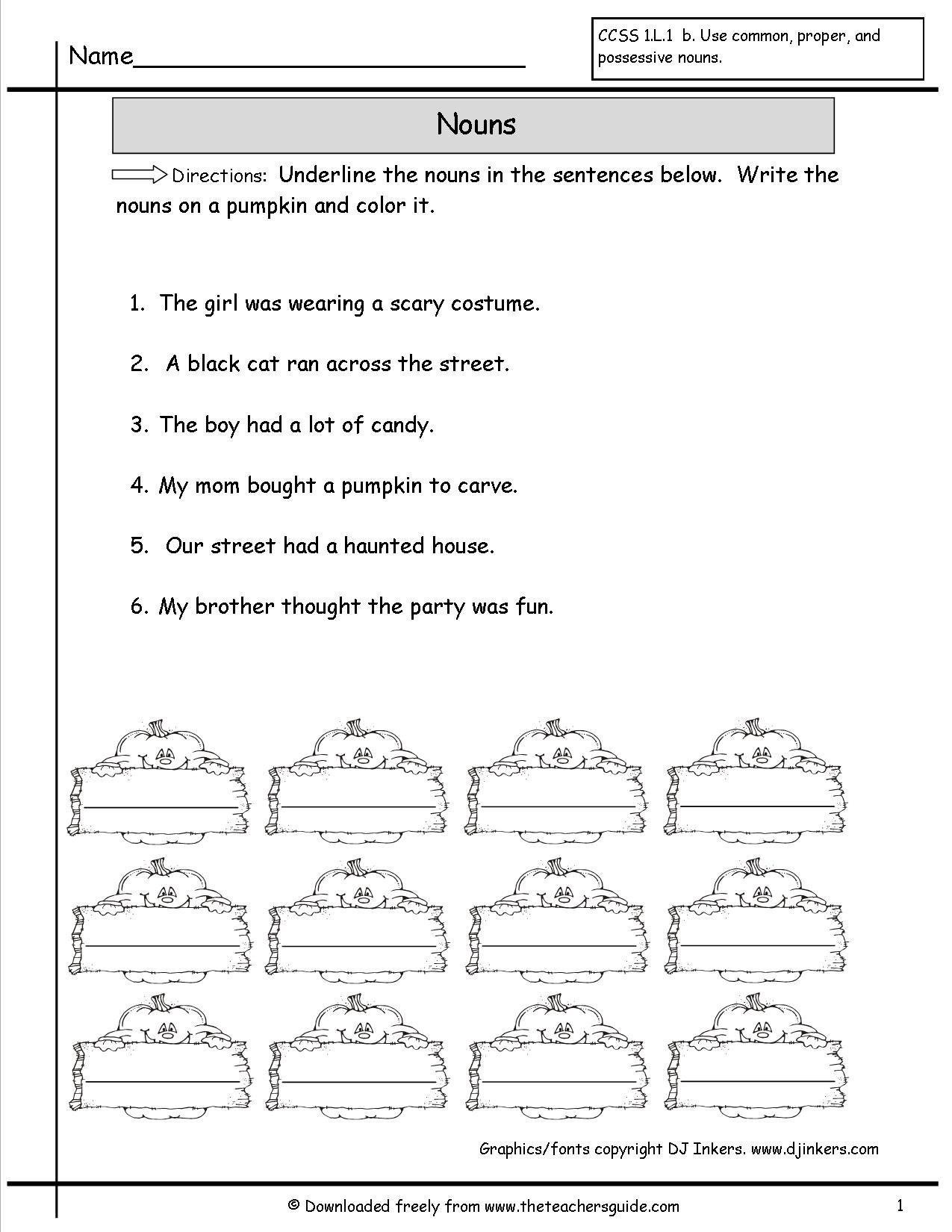 Nouns Color Pumpkins Worksheet